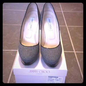 Jimmy Choi Cosmic grey platform heels